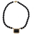 Estate Jewelry:Necklaces, Black Onyx, Diamond, Gold Necklace. ...