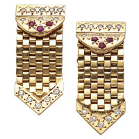 Diamond, Ruby, Gold Earrings