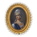 Estate Jewelry:Brooches - Pins, Painted Portrait, Diamond, Freshwater Pearl, Gold Pendant-Brooch. ...
