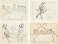Animation Art:Production Drawing, Vintage Racial Stereotype Cartoon Storyboard Group of 8 (c.1940s).... (Total: 8 Original Art)