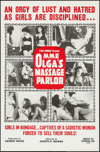 "Mme. Olga's Massage Parlor & Other Lot (American Film Company, 1965). One Sheet (27"" X 41"") and Trimme..."