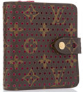 """Luxury Accessories:Accessories, Louis Vuitton Limited Edition Classic Monogram Canvas PerforatedLeather Wallet. Excellent Condition. 4"""" Width x 4""""He..."""