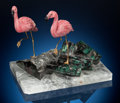 Lapidary Art:Carvings, Rhodochrosite Flamingos on Emerald Base. Artist: PeterMüller. Stone Source: Argentina, Zambia & Brazil.... (Total: 3 Items)