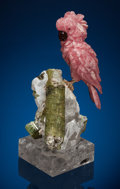 Lapidary Art:Carvings, Rhodochrosite Cockatoo on Tourmaline & Quartz Base. Artist:Peter Müller. Stone source: Argentina & Brazil. ...(Total: 2 Items)