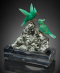 Lapidary Art:Carvings, Chrysoprase Hummingbird Couple on Albite with Tourmaline Base.Artist: Peter Müller. Stone Source: Australia &Brazil... (Total: 3 Items)