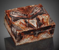 Lapidary Art:Boxes, Crazy Lace Agate Box. Artist: Konstantin Libman. Stone Source: Mexico. ...