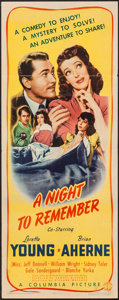 "Movie Posters:Mystery, A Night to Remember (Columbia, 1942). Insert (14"" X 36""). Mystery....."