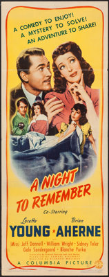 """A Night to Remember (Columbia, 1942). Insert (14"""" X 36""""). Mystery"""