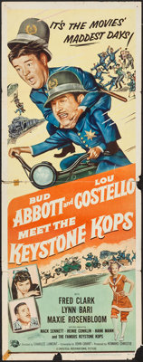 "Abbott and Costello Meet the Keystone Kops (Universal International, 1955). Insert (14"" X 36""). Comedy"