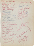 Football Collectibles:Others, 1954 New York Football Giants Team Signed Sheet. ...