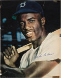 Baseball Collectibles:Others, Late 1940's Jackie Robinson Signed Magazine Page Cuts Lot of 2....