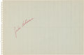 Baseball Collectibles:Others, 1950's Jackie Robinson Signed Notebook Paper/Cut....