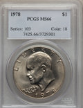 Eisenhower Dollars, 1978 $1 MS66 PCGS. PCGS Population (374/5). NGC Census: (163/5). Mintage: 25,702,000. Numismedia Wsl. Price for problem fre...