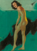Pin-up and Glamour Art, Earl Moran (American, 1893-1984). Cold Shower. Pastel onpaper. 23.5 x 17 in. (sight). Signed lower right. ...