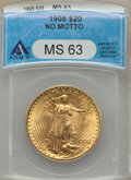 1908 $20 No Motto MS63 ANACS. NGC Census: (45968/46829). PCGS Population (35383/59221). Mintage: 4,271,551. Numismedia W...