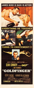 "Movie Posters:James Bond, Goldfinger (United Artists, 1964). Insert (14"" X 36"").. ..."
