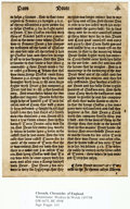 Books:Prints & Leaves, [Incunabula]. [Wynkyn de Worde]. Double-Sided Leaf Fragment from DeWorde's Chronicles of England. [Westminster:...