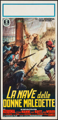 "The Ship of Condemned Women (Minerva, 1953). Italian Locandina (13"" X 27.5""). Foreign"