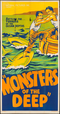 "Monsters of the Deep (Talking Picture Epics, 1931). Three Sheet (42.25"" X 80.75""). Documentary"
