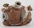 Asian:Japanese, Hoshiko Kusado (Japanese, 20th Century). Stylized BottleVessel, circa 1970. Glazed ceramic. 5-1/2 x 7-1/2 x 1 inches(1...