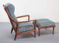 Furniture : Continental, Scandinavian Modernist School (20th Century). Lounge Chair andOttoman , circa 1950. Oak, upholstery. 37-1/2 x 28 x 28 i...
