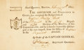 Books:Americana & American History, [Massachusetts]. Signed Nineteenth-Century Military Resignation andDischarge Form for Captain Bailey Hall. Boston: Comm...