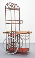 Furniture , Bill W. Sanders (American, 20th Century). BBQ Cart, circa 1960. Oak, iron, Lucite, bicycle wheels. 68-1/2 x 36-1/2 x 22 ...