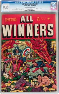 All Winners Comics #12 (Timely, 1944) CGC VF/NM 9.0 Off-white to white pages