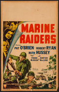 "Movie Posters:War, Marine Raiders (RKO, 1944). Window Card (14"" X 22""). War.. ..."