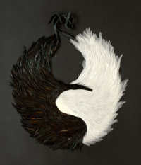 NICKI MARX (American , 20th Century) Ying-Yang Breastplate, 2014 Feathers and leather 17 inches n