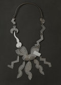 Estate Jewelry, Garry Knox Bennett (American, b. 1934). Necklace, 2000. Acid etched galvanized sheet metal, silver. 15-1/4 inches long (...