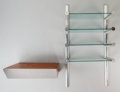 Furniture , Leon Rosen (American, 20th Century). Hanging Bookshelf and Two Drawer Floating Cabinet, circa 1970. Polished chrome, woo... (Total: 3 Items)