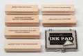 Post-War & Contemporary:Contemporary, Jenny Holzer (American, b. 1950). Truism Stamp Set, 1991,Walker Art Center. Wood, rubber, ink pad. 4 inches long (10.2 ...(Total: 8 Items)
