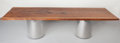 Furniture : American, Arthur Espenet Carpenter III (American, 20th Century). Single Board Dining Table. Highly figured old growth Siamese teak... (Total: 3 Items)