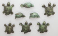 Bronze:American, Ilana Goor (Israeli, b. 1936). Five Turtles and Three Birds,circa 1985. Bronze with green patina. 3-3/4 inches long (9....(Total: 8 Items)