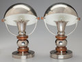 Decorative Arts, French:Other , French School (20th century). Helmet Lamps, circa 1935.Nickel-plated aluminum, copper. 11 inches high x 8 inches wide (...(Total: 2 Items)