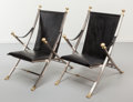 Furniture : French, Maison Jansen. Pair of Campaign Chairs, circa 1970.Patinated brass, brushed steel, black leather. 36 x 24 x 35 inches(... (Total: 2 Items)