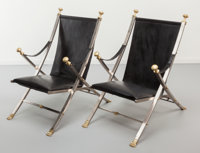 Maison Jansen Pair of Campaign Chairs, circa 1970 Patinated brass, brushed steel, black leather 3