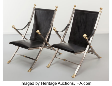 Maison JansenPair of Campaign Chairs, circa 1970Patinated brass, brushed steel, black leather36 x 24 x 35 inches (... (Total: 2 Items)
