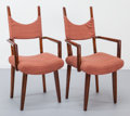 Furniture : French, Jean Royère (French, 1902-1981). Pair of Palissandre Chairs,designed 1946. Rosewood, upholstery. 39 x 19-1/2 x 18 inche...(Total: 2 Items)