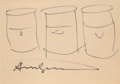 Works on Paper, Andy Warhol (American, 1928-1987). Three Soup Cans, 1978. Marker on paper. 7 x 10 inches (17.8 x 25.4 cm). Signed along ...