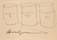 Andy Warhol (American, 1928-1987) Three Soup Cans, 1978 Marker on paper 7 x 10 inches (17.8 x 25