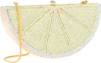 Judith Leiber Full Bead Yellow & Silver Crystal Lemon Slice Minaudiere Evening Bag Very Good Condition<