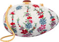 """Luxury Accessories:Accessories, Judith Leiber Full Bead Silver Crystal Floral Egg MinaudiereEvening Bag. Very Good to Excellent Condition. 5"""" Widthx..."""