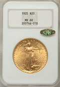 Saint-Gaudens Double Eagles: , 1925 $20 MS60 NGC. Gold CAC. NGC Census: (220/51825). PCGS Population (428/45920). Mintage: 2,831,750. Numismedia Wsl. Pric...
