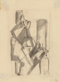Fine Art - Work on Paper:Drawing, Hans Richter (American, 1888-1976). Untitled, 1916. Pencilon paper. 9 x 6-3/4 inches (22.9 x 17.1 cm) (sheet). Initiale...