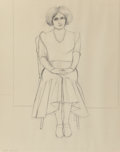 Fine Art - Work on Paper:Drawing, William Theophilus Brown (American, 1919-2012). Untitled (SeatedWoman), 1982. Pencil on paper. 29 x 23 inches (73.7 x 5...