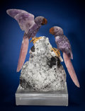 Lapidary Art:Carvings, Large & Impressive Amethyst & Rose Quartz Macaws onTourmaline & Albite Base. Artist: Peter Müller. StoneSource: Braz... (Total: 3 Items)