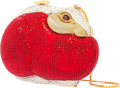 "Luxury Accessories:Bags, Judith Leiber Full Bead Red & Silver Crystal Rabbit MinaudiereEvening Bag. Very Good to Excellent Condition. 4""Heigh..."