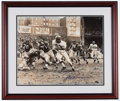 Football Collectibles:Photos, Jim Brown Signed Oversized Photograph (Discolored)....